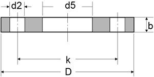 plate flange - EN1092-1/01/B1 304L Plate Flange RF 16 Inch PN16