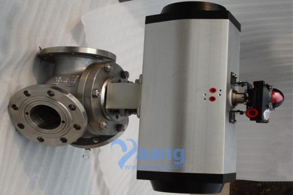 Y Type Pneumatic Three-way Ball Valve RF End DN80 PN16