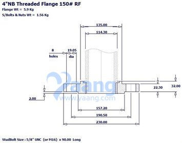 20180405094903 92554 - ANSI B16.5 304L Threaded Flange RF DN100 Class 150