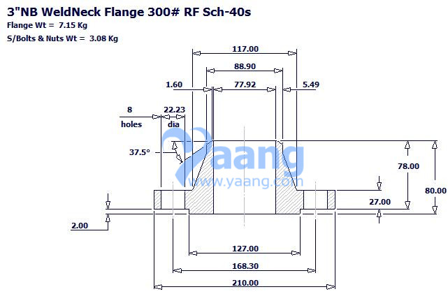 20184242236563840899 - SA182 F317L WNRF Flange DN80 SCH40S CL300