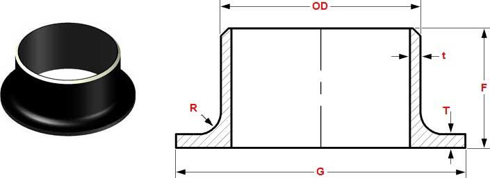 stubend dim - MSS SP-43 (A) ASTM A403 WP304 STUB END Butt Welded DN40 SCH10S