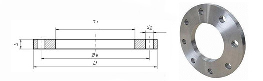 """2016727649257254764 2 - EN1092-1 Type 01-A ASTM A182 304L Plate Flange 4"""" PN10/16"""