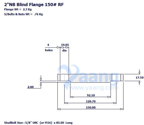 "2018819175598315219 - ASME B16.5 A182 304L Blind Flange RF 2"" Class 150"