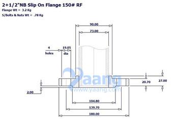 201896922113207538 - ASME B16.5 A182 F304 SORF Flange 2-1/2 Inch Class 150