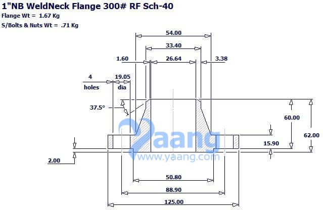 20181012256195384341 - ASME B16.5 F304L WNRF Flange 1 Inch SCH40 Class 300