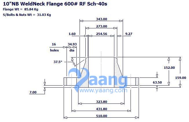 "20181016202773402820 - ASME B16.5 A182 F316L WNRF Flange 10"" S/40S 600#"