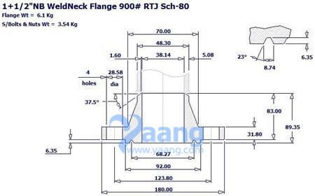 """201810291737178570926 - ASME B16.5 ASTM A182 F316L WN RTJ Flange 1-1/2"""" Sch80 900#"""