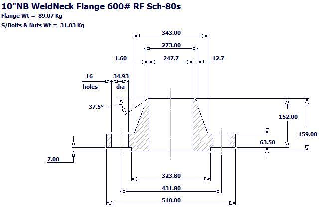 "2018109184293947192 - ASME B16.5 A182 F316L WNRF Flange 10"" S/80S 600#"