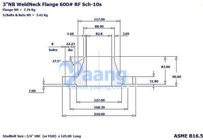 "201812161720537743655 - ASME B16.5 A182 F304 WNRF Flange 3"" CL600 Sch10S"
