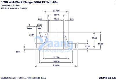 "2018121942985605990 - ASME B16.5 A182 F316L WNRF Flange 3"" CL300 Sch40S"
