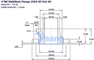 "201812201732477437411 - ANSI B16.5 A182 F304L WNRF Flange 4"" CL150 Sch40S"