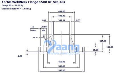 "20181292143321634021 - ANSI B16.5 A182 F316L WNRF Flange 16"" CL150 Sch40S"