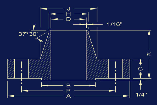 ansi b16 47 series a welding neck flange dimensions - ANSI B16.47 Series A Welding Neck Flange Dimensions