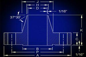 ansi b16 5 welding neck flange raised face flat face dimensions 300x200 - ANSI B16.5 Welding Neck Flange Raised Face & Flat Face Dimensions