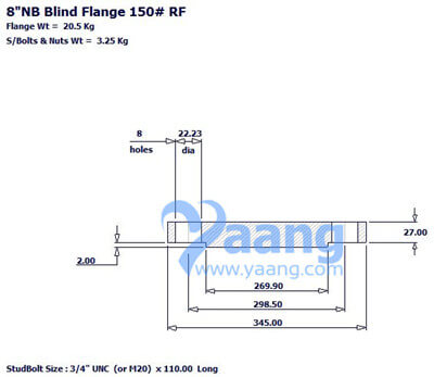 201922113946986697 - ASME B16.5 ASTM A182 316L Blind Flange RF 8 Inch 150#