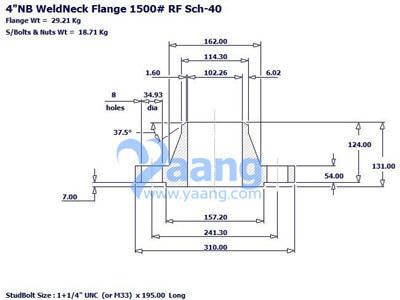 20193101182881106 - ASME B16.5 A182 F44 WNRF Flange DN100 SCH40 Class1500