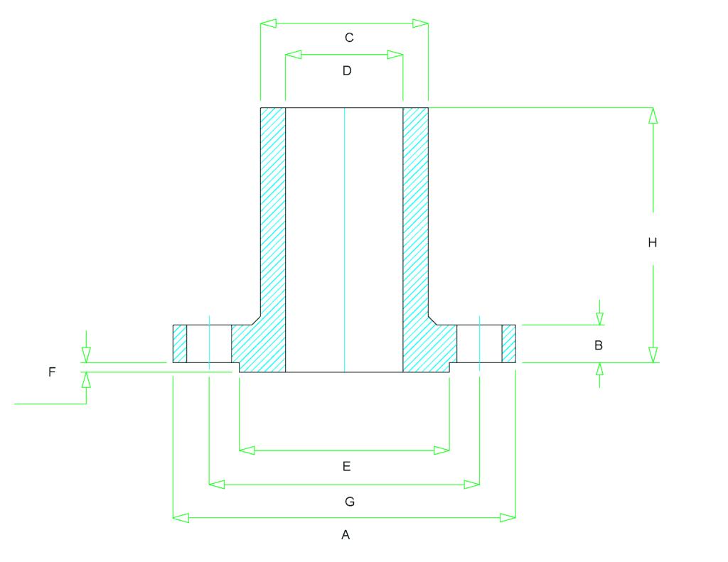 long weld neck flange dimensions 1024x791 - ASME B16.5 ASTM B637 UNS N07080 LWNRF Flange 3 Inch 150#