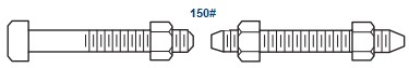 stud bolt with nuts machine bolt with nuts for class 150 flange - Nickel Alloy: Monel 400 (UNS N04400)