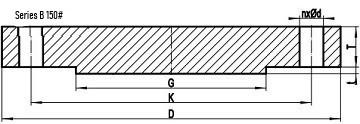 asme b16.47 sb 150lb blrf drw - ASME B16.47 Series B ASTM A182 F316L Blind Flange RF 54 Inch 150#