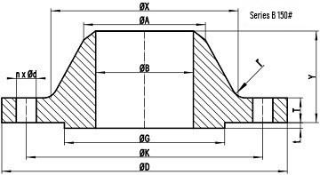 asme b16.47 sb 150lb wn rf drw - ASME B16.47 Series B ASTM A182 F316L Blind Flange RF 54 Inch 150#