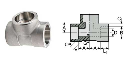 socket weld equal tee weight - ASME B16.11 A182 F53 Socket Weld Tee DN50 3000#