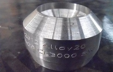 alloy 20 weld outlet 3000 - Nickel-based super alloy: Incoloy 20 (UNS N08020/DIN 2.4660)