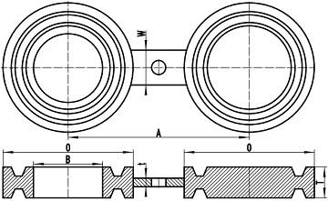 """asme b16.48 fig 8 bl frtj - ASME B16.48 A182 F316 Spectacle Blind Flange RTJ 6"""" 600#"""