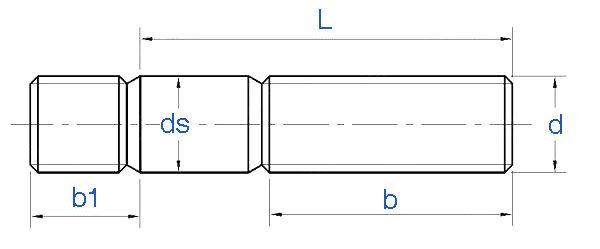 Titanium Stud DIN938 Drawing - DIN938 Titanium Double End Stud Bolt
