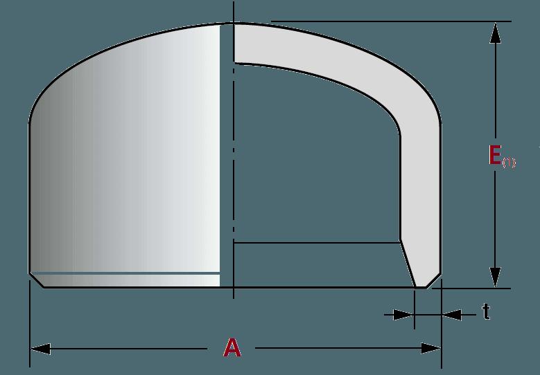 cap - ASME B16.9 ASTM B366 Incoloy 825 Pipe Cap DN250 SCH100